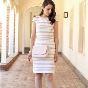 J CREW Double Stripe Cap Sleeve Dress Pink Ivory